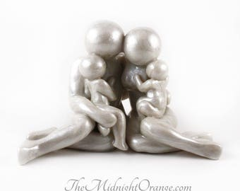 Family of Four Keepsake - handmade clay figurine of parents with two children - bespoke family sculpture - MADE TO ORDER