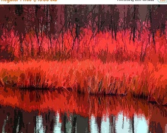 HUGE SUMMER SALE 40% off Giclee Print, Modern Art, Landscape, Autumn, Photograph, Photomontage, Collage, Lake, Modern Landscape, Wall Art, H