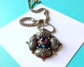 Tibetan Sterling Silver Wirework Pendant and Sterling Box Chain