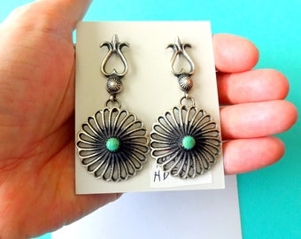 Navajo Old World Style Tufa Cast Sterling and Turquoise Earrings