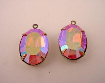 2 vintage Swarovski rhinestone rose ab aurora borealis  oval 18x13 brass ox  setting 1 ring charms
