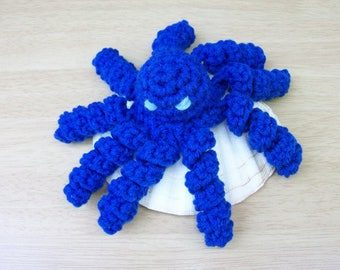 Royal Blue Plush Baby Octopus. Toy Cthulhu in Blue. Kawaii Crochet Seaside Stuffie. Amigurumi Octopus. Stuffed Toy Octo. Kids Gift. Cat Toy