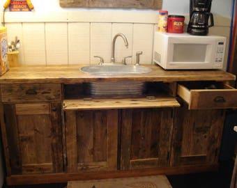 "Rustic Driftwood, Metal Tub, Sink Console (76"" x 21"" deep x 36""h)"