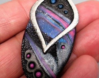 Mokume Gane Pendant, Polymer Clay in Glittery Black, Purple and Pink with Silver Leaf Shape Bail, Handmade Jewelry Component