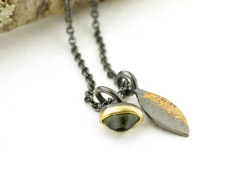 Forest Mini Talisman Tourmaline Charm Necklace Lichen Leaf Pendant Nature Jewelry Branch Sterling Silver 18 karat gold