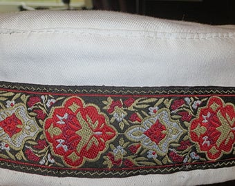 "White Bucharian kippah with a stunning red black gold motif tapestry trim size 24"" only on sale"