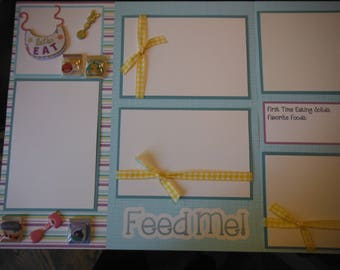 2 Feed Me! Let's Eat Baby Boy Girl  12x12 Premade Scrapbook Pages for your family
