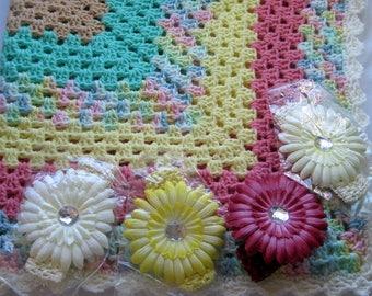 Handmade Crochet Baby Blanket with Flower Headband