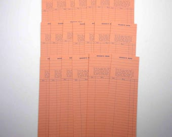 Extra Long Orange and Blue Library Borrower's Check Out Cards Set of 20