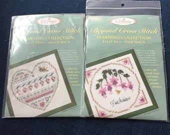 Victoria Sampler counted cross stitch linen kit, NIP ,beyond cross stitch, leaning collection level 2 Pistil stitch , bonus level 3 kit