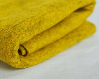 100% Pure Wool Felt Fabric - 1mm Thick - Made in Western Europe - Mottled Yellow