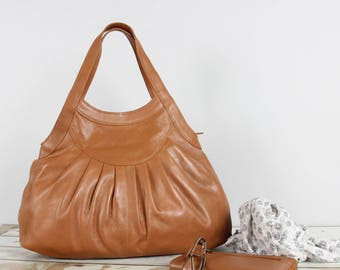 Leather Tote Purse Handbag, tan
