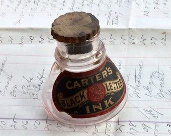 Antique Carter's Black Ink Bottle Vintage Advertising with Cork Lid