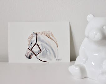 Calla the Camarillo, Horse Art, Horse Painting, Horse Portrait, Nursery Horse, Horse Wall Art, White Horse, Mini Horse Painting