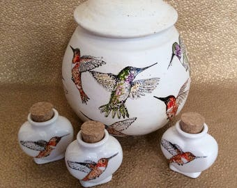 MIca Clay Cremation Urn with Hummingbirds  with Custom Design & Inscription and Keepsake Urn Option