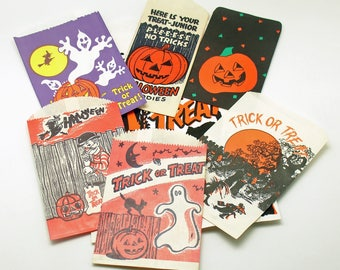 Vintage Halloween Decoration Trick or Treat Bags Instant Collection Lot