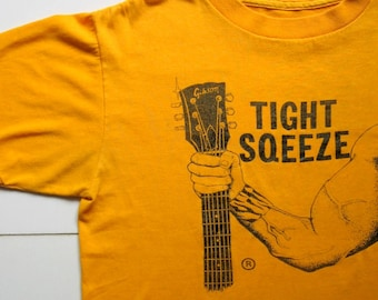 Vintage Gibson Guitar T-shirt - Tight Sqeeze T-Shirt - 1980's - Screen printed, orange and black, guitar, musician, music T-shirt, rare
