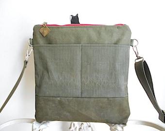 Red zipper, military canvas crossbody, iPad flat bag - eco vintage fabrics