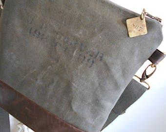 Military canvas  & leather crossbody, iPad flat bag - eco vintage fabrics