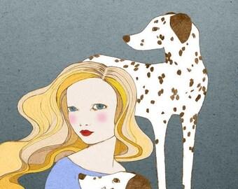 Sale Dalmatians - girl with dalmatian dog - Print of original illustration wall art