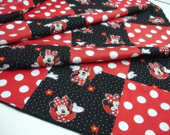 Minnie Mouse Red Black Patchwork Minky Blanket You Choose Size MADE TO ORDER No Batting
