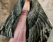 Black Evening Scarf With Hand Painted & Printed Bird feather Wings Shawl
