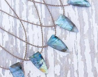 labradorite pyramid briolette / handspun ROPE necklace / waterproof / kid-proof / life-proof / bohemian / minimalist beauty / tula blue