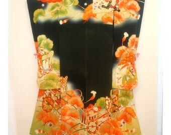 Noble Pine - Antique Japanese Wedding Furisode Formal Women's Silk Kimono