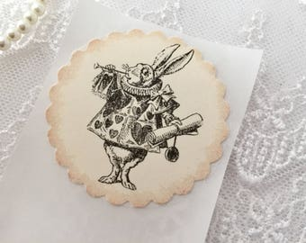 White Rabbit Stickers, White Rabbit Labels, Alice in Wonderland, Set of 10