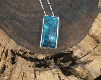 Spider Web Turquoise on a Figuero Sterling Silver Chain