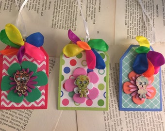 3 skeleton flower gift tags collage Art #2 FREE US Shipping