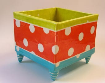 colorful pottery Planter with white polka-dots whimsical striped legs, Turquoise, Tangerine orange, Chartreuse