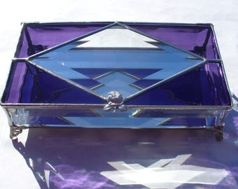 Classic Elegance, Stained Glass Jewelry Box, Beveled Glass Box, Your Choice of Color and Handle