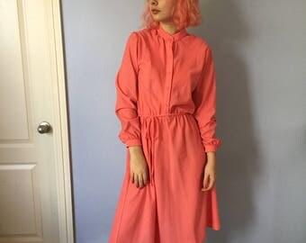 Vintage Dress Coral Secretary 1980s - Pretty - Size 8