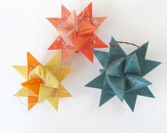 Vintage Moravian Star Ornaments Set of 3/ Wax Paper Star Ornaments with glitter/ German Moravian stars