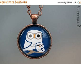 ON SALE - Night Owls : Glass Dome Necklace, Pendant or Keychain Key Ring. Gift Present metal round art photo jewelry by HomeStudio