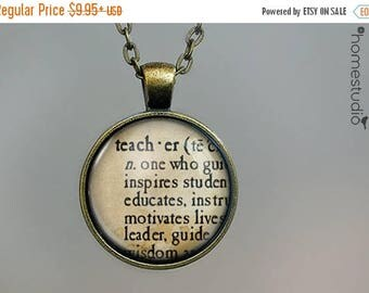 ON SALE - Teacher Definition : Glass Dome Necklace, Pendant or Keychain Key Ring. Gift Present metal round art photo jewelry by HomeStudio