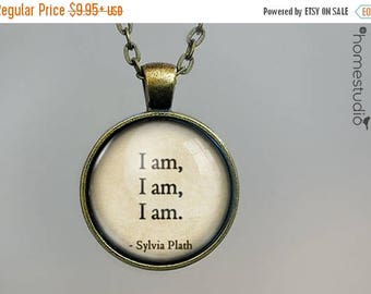 ON SALE - Sylvia Plath Jewelry | I Am Necklace | I Am Pendant | I Am Keychain | Perfect Gift Present | Glass Dome Quote Charm necklace HomeS