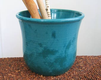 SECONDS SALE Utensil Crock, Ceramic Utensil Holder in Peacock Blue Green, Stoneware Pottery Utensil Caddy, Kitchen Organizer, Chef Gift