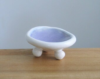 Tiny Ring Holder, Ceramic Wedding Ring Holder Dish in Lavender Purple, Engagement Gift, Trinket Dish