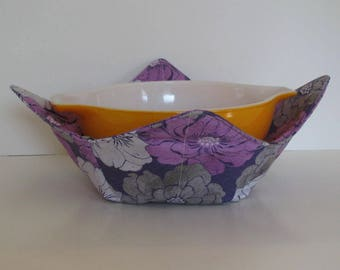 Large Microwave Bowl, Fabric Bowl, Purple and Gray Flowers,  Food Warming, Serving Bowls, Microwave Cooking, Bridal Gift