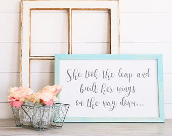 She Took The Leap Farmhouse Style Rustic Wood Sign, Handmade, Inspirational Quote, Shabby Chic