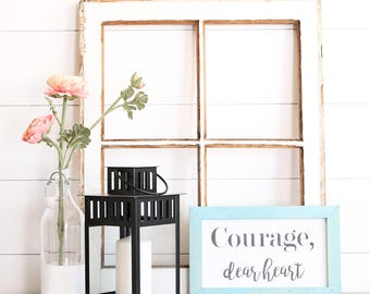 COURAGE DEAR HEART Farmhouse Style Rustic Wood Sign, Handmade, Inspirational Quote, Shabby Chic
