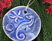 Ceramic Seahorse Ornament- Christmas Ornament - Seashell Ornament- Blue Starfish