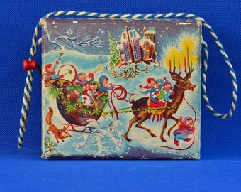 Christmas Hurdy Gurdy Toy Music Box by Futureland Toys/Mattel Creations - Music by Ted Duncan - Jingle Bells - Hand Crank - c. 1940s