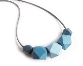 Hexagon Necklace, Blue Necklace, Geometric Necklace, Statement Necklace, Hexagon Jewellery, Geometric Jewellery, Geometric Style, Denim Blue