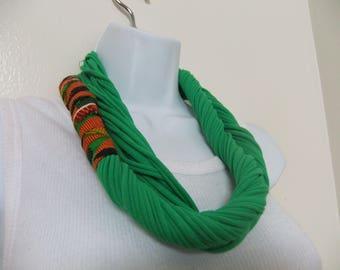 Kente Fabric Embellished Infinity T-Shirt Multi Strand Scarf/Necklace