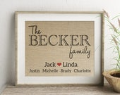 Family Personalized Burlap Print | Housewarming Gift for Family or Couple | Husband Wife Parents Children Pets Names | House Warming