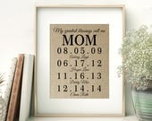 Personalized Gift for MOM | Mother's Day Gift from Kids | Children's Birth Dates Sign | Mother of the Bride Gift | Birthday Gift for Mom