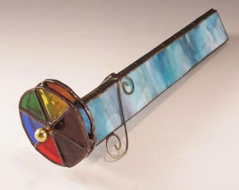 Stained Glass Kaleidoscope - Turquoise, Pink, White Ring Mottle Texture